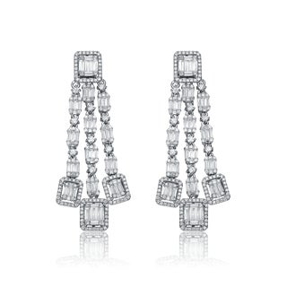 Collette Z Sterling Silver Cubic Zirconia Three Strand Earrings