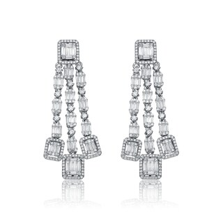 Collette Z Sterling Silver Cubic Zirconia Three Strand Earrings - White