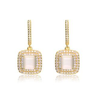 Collette Z Gold Overlay Pink Cubic Zirconia Elegant Earrings