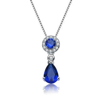 Collette Z Sterling Silver Blue Cubic Zirconia Drop Necklace
