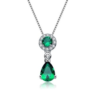 Collette Z Sterling Silver Green Cubic Zirconia Drop Necklace