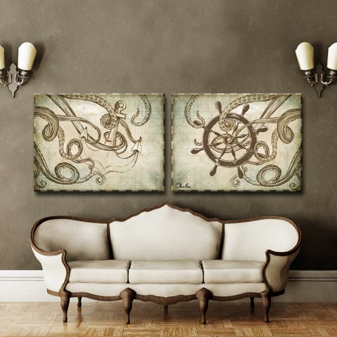 Ready2HangArt 'Sea Anchor & Ship' 2-Pc Nautical Canvas Art Set