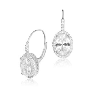 Collette Z Sterling Silver Cubic Zirconia Oval Drop Earrings