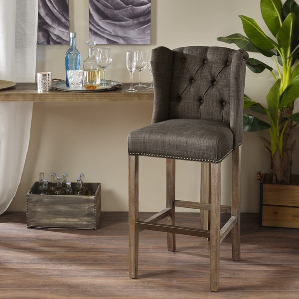 Madison Park Lydia Charcoal Tufted Wing 30 Inch Bar Stool