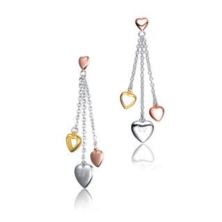 Collette Z Sterling Silver Cubic Zirconia Heart Strands Earrings - Pink