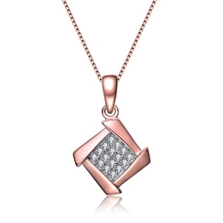 Collette Z Rose Gold Cubic Zirconia Pave Necklace