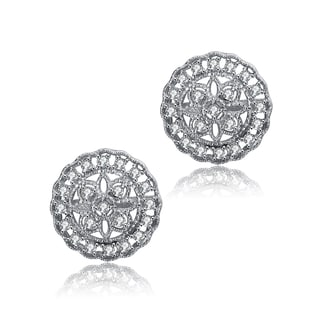 Collette Z Sterling Silver Cubic Zirconia Dainty Button Earrings