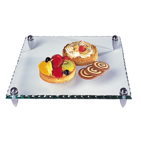 Badash Mercury Clear Glass 12-inch Square Serving Tray