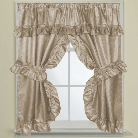 """70-inch W x 45-inch L Bathroom Window Curtain Panel Pair with Tie Backs and Ruffled Valance - 70""""w x 45""""l"""