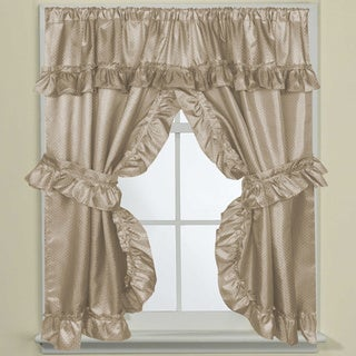 70-inch W x 45-inch L Bathroom Window Curtain Panel Pair with Tie Backs and Ruffled Valance