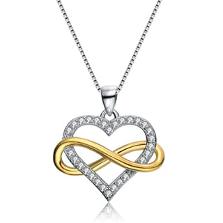 Collette Z Sterling Silver Cubic Zirconia Infinity Heart Necklace
