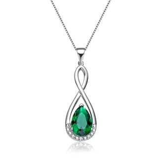 Collette Z Sterling Silver Green Cubic Zirconia Pear Necklace