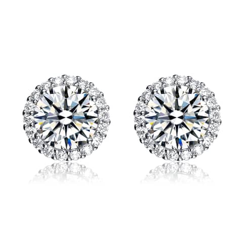 Collette Z Rhodium Overlay Cubic Zirconia Button Earrings - White