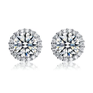 Collette Z Rhodium Overlay Cubic Zirconia Button Earrings