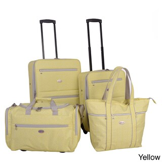 American Flyer Greek Key 4-Piece Rolling Luggage Set (4 options available)