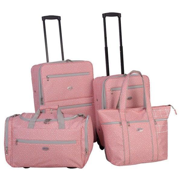 American Flyer Greek Key 4-Piece Rolling Luggage Set - Free ...