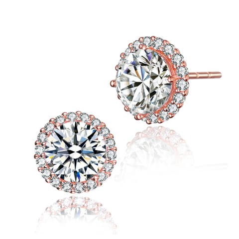 Collette Z Sterling Silver with Rose Gold Plated Clear Round Cubic Zirconia Halo Button Earrings