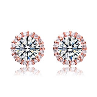 Collette Z Rose Gold Overlay Cubic Zirconia Button Earrings