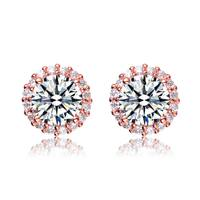 Collette Z Rose Gold Overlay Cubic Zirconia Button Earrings - White