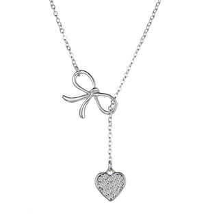 Silvertone Austrian Crystal Y Bow and Heart Necklace