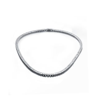 Link to Collette Z Sterling Silver with Rhodium Plated Clear Princess Cubic Zirconia Tennis Necklace Similar Items in Necklaces