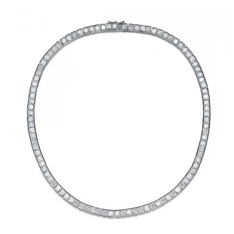 Collette Z Sterling Silver with Rhodium Plated Clear Princess Cubic Zirconia Tennis Necklace