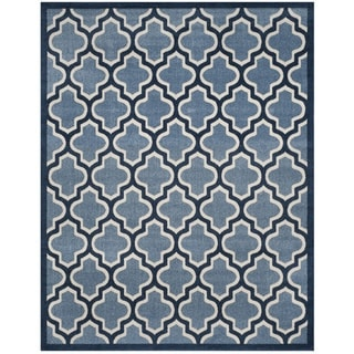 Safavieh Amherst Indoor/ Outdoor Light Blue/ Navy Rug (9' x 12')