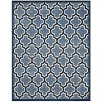 Safavieh Amherst Indoor/ Outdoor Light Blue/ Navy Rug - 9' x 12'
