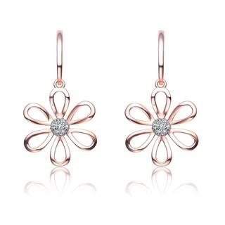 Collette Z Rose Gold Overlay Cubic Zirconia Six Petal Flower Earrings