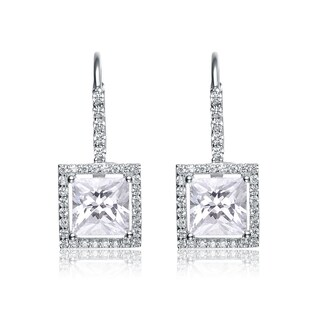 Collette Z Sterling Silver Cubic Zirconia Princess Cut Dangle Earrings