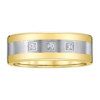 Tungsten Stainless Steel Two-tone Men's 1/10ct TDW Diamond Band