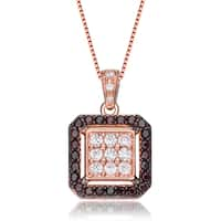 Collette Z Gold Overlay Dark Cubic Zirconia Square Necklace