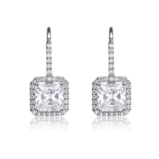 Collette Z Sterling Silver Cubic Zirconia Formal Dangle Earrings