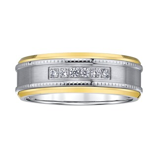 Stainless Steel, Tungsten, and Diamond Milgrane-accent Men's Band