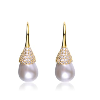 Collette Z Sterling Silver Cubic Zirconia and Pearl Bulb Earrings