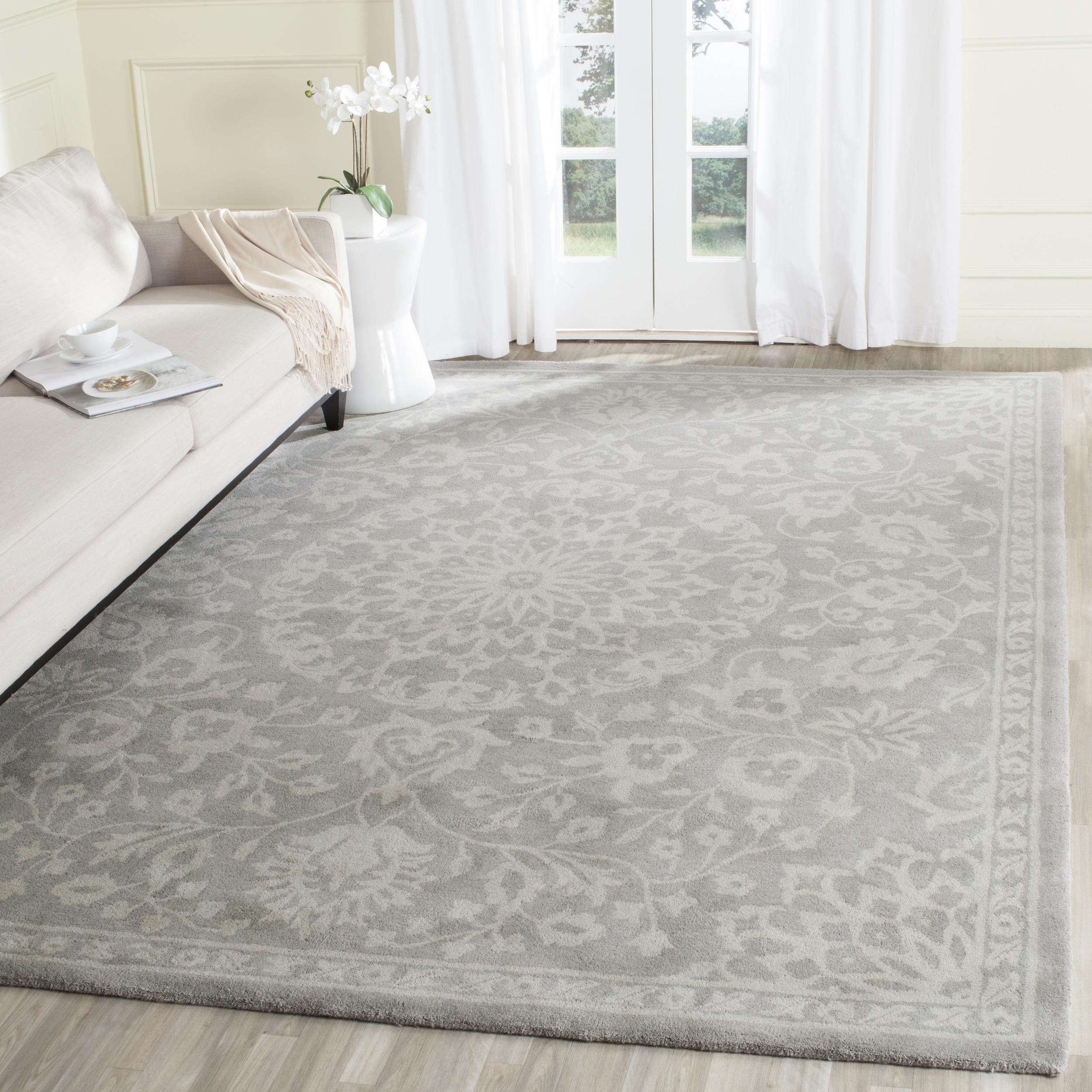 Safavieh Bella Contemporary Handmade Grey Silver Wool Rug 10 X 14