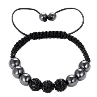 Black Cord, Hematite, Jet Black Crystal Bead Bracelet