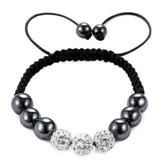 Black Cloth Cord Hematite, White Crystal, Bead Bracelet