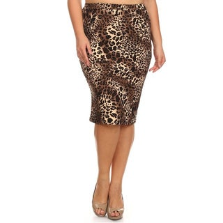 MOA Collection Women's Plus-size Multicolor Polyester and Spandex Leopard Skirt
