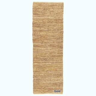 """Artist's Loom Flatweave Contemporary Solid Pattern Leather Rug( 2'6""""x7'6"""") (Option: Gold/Beige)"""