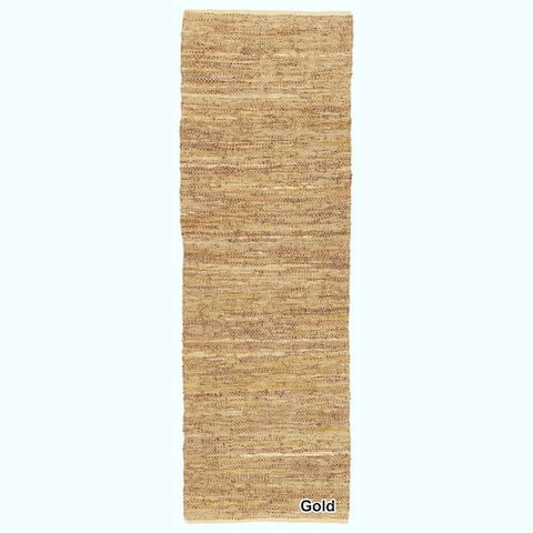 """Artist's Loom Flatweave Contemporary Solid Pattern Leather Rug( 2'6""""x7'6"""")"""