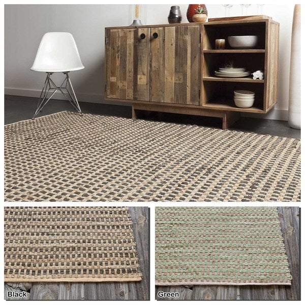 "Artist's Loom Flatweave Contemporary Solid Pattern Cotton/Jute Rug( 2'6""x7'6"") - 2'6""x7'6"""