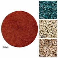 """Artist's Loom Hand-Woven Contemporary Abstract Pattern Shag Rug (7'9"""" Round) - 7'9"""