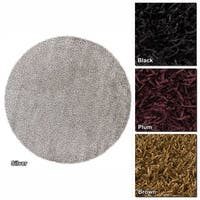 "Artist's Loom Hand-Woven Contemporary Abstract Pattern Shag Rug (7'9"" Round)"
