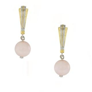 One-of-a-kind Michael Valitutti Palladium Silver Pink Opal Bead Drop Earrings