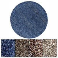 """Artist's Loom Hand-Woven Contemporary Abstract Pattern Shag Rug (7'9"""" Round)"""