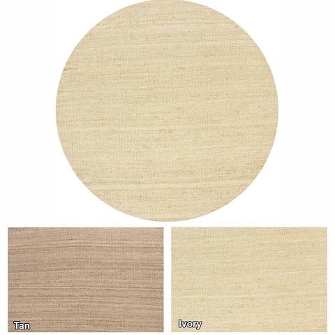 "Artist's Loom Flatweave Contemporary Solid Pattern Jute Rug (7'9"" Round)"