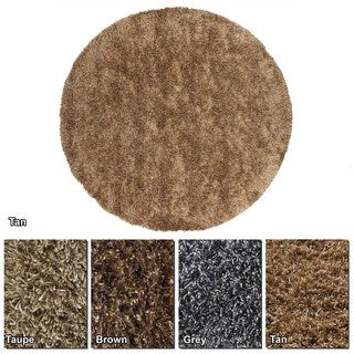 """Artist's Loom Hand-Woven Contemporary Solid Pattern Shag Rug (7'9"""" Round)"""