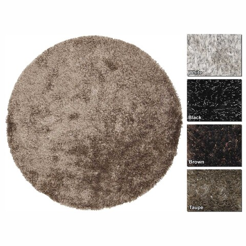 """Artist's Loom Hand-Woven Contemporary Abstract Pattern Shag Rug (7'9"""" Round) - 7'9 Round"""