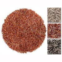 """Artist's Loom Hand-Woven Contemporary Abstract Pattern New Zealand Wool Shag Rug (7'9"""" Round)"""